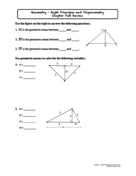 Right Triangles and Trigonometry Test by Ashley Spencer | TpT