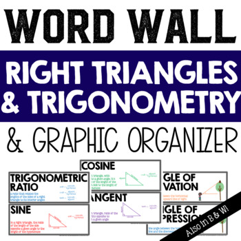 Right Triangles and Trigonometry Vocabulary Word Wall and Graphic Organizer