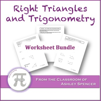 Right Triangles and Trigonometry Worksheet Bundle