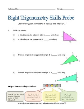 Right Trigonometry Skills Probe