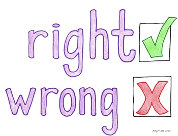 Right Wrong Cartoon--Printable Montessori Homonym Cards