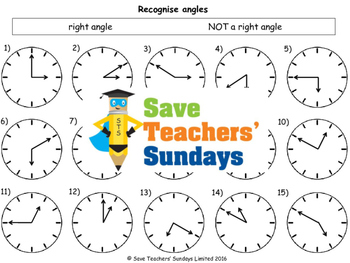 Right Angles Worksheets (3 levels of difficulty)