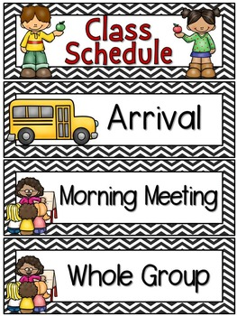 Right on Schedule Classroom Schedule Display Cards ~ Black Chevron