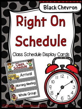 Right on Schedule Classroom Schedule Display Cards ~ Black