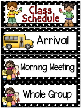 Right on Schedule Classroom Schedule Display Cards ~ Black Polka Dot