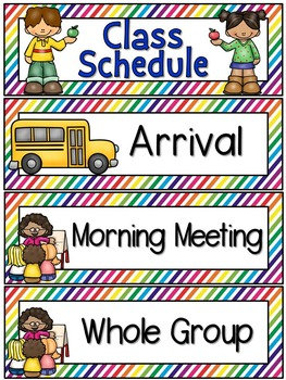Right on Schedule Classroom Schedule Display Cards ~ Rainbow Stripe