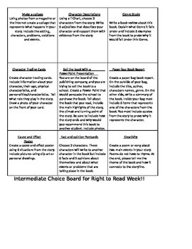 Right to Read Choice Board Activity 3rd-5th grade