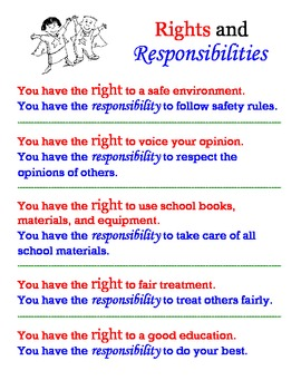 rights vs responsibilities poster by jen wood tpt. Black Bedroom Furniture Sets. Home Design Ideas