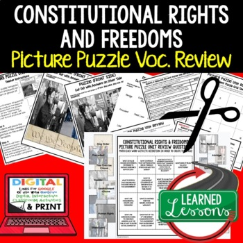 Rights and Freedoms Picture Puzzle Unit Review, Study Guide, Test Prep