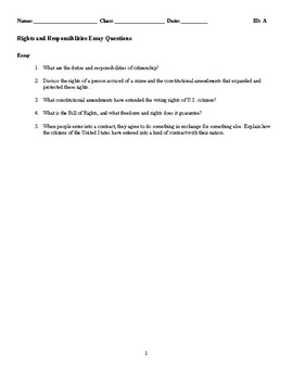 Rights and Responsibilities Discussion/Essay Questions