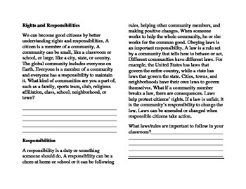Rights and Responsibilities Mini-Book
