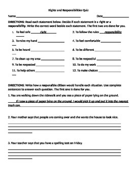 Rights and Responsibilities Quiz