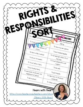 Rights And Responsibilities Sort Worksheets & Teaching ...