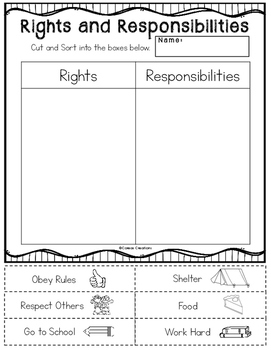 Rights and Responsibilities Sort by Coreas Creations | TpT