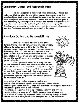 Rights and Responsibilities of Citizens Informational Text and Sorting Activity