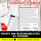 Citizens' Rights & Responsibilities Reading & Writing Activity (SS5CG1, SS5CG1a)