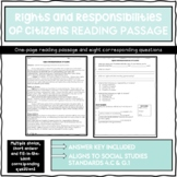Rights and Responsibilities of Citizens Reading Passage an