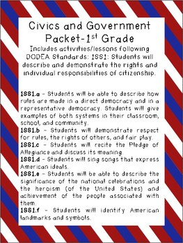 Rights and Responsibilities of Citizenship Packet - Grade 1