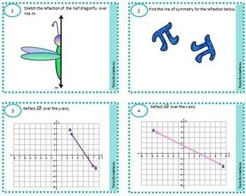 Rigid Motion Transformations Task Cards Reflection Rotation Translation