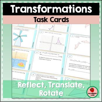 Rigid Motion Transformations Task Cards Reflection Rotatio