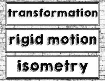 Rigid Motion Transformations Vocabulary Word Wall and Graphic Organizer