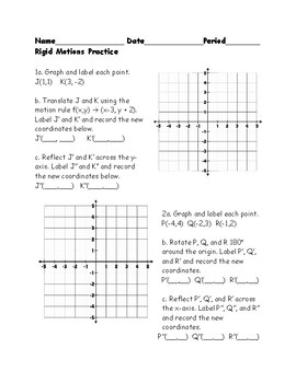 Rigid Motions Practice Worksheet By Heather Charles Tpt