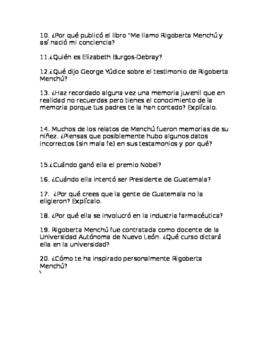 Rigoberta Menchú (Web quest) in Spanish