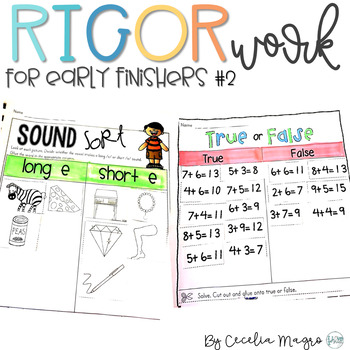Rigor Work for Early Finishers #2 - 1st Grade