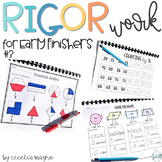 Rigor Work for Early Finishers 3 First Grade