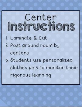 Rigorous Centers & Center Rubrics {Kindergarten}