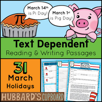 31 March Passages/ March Activities / March Morning Work / March Writing Prompts