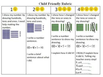 Grade 2 Rigorous bulletin board Task Go Math Chapter 2 (2- rubrics cc/and child)