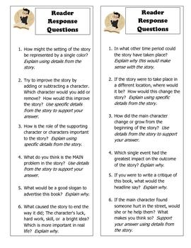 Rigorous Reader Common Core Response Bookmarks