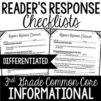 Reader's Response Letters {3rd Grade Common Core: Informational Set}