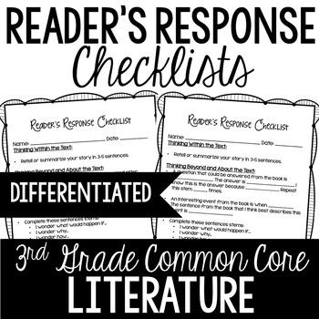 Reader's Response Letters {3rd Grade Common Core: Literature Set}