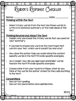 Reader's Response Letters {4th Grade Common Core: All Standards}