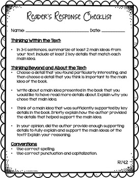 Reader's Response Letters {4th Grade Common Core: Informational Set}