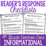 Reader's Response Letters {4th Grade Common Core: Informat