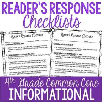 Reader's Response Letters {4th Grade Common Core: Informat