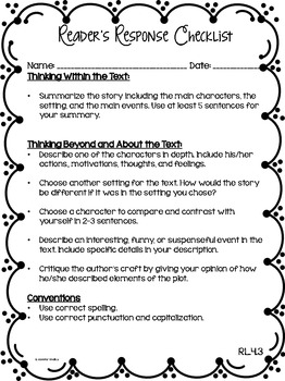 Reader's Response Letters {4th Grade Common Core: Literature Set}