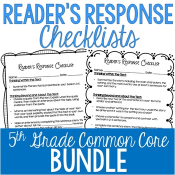 Reader's Response Letters {5th Grade Common Core: All Standards}