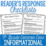 Reader's Response Letters {5th Grade Common Core: Informat