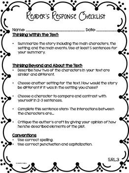 Reader's Response Letters {5th Grade Common Core: Literature Set}