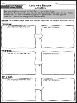 "Rigorous Short Story Lesson Plan ""Lamb to the Slaughter"" by Roald Dahl"