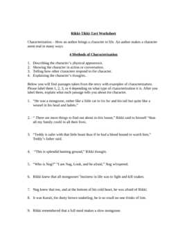 Worksheets Rikki Tikki Tavi Worksheets rikki tikki tavi character by the clever creator teachers worksheet w answer key