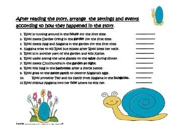 Rikki-Tikki-Tavi ( Reading Quiz and Story Settings Activities Combined)