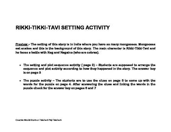 Rikki-Tikki-Tavi Setting of the Story Activities
