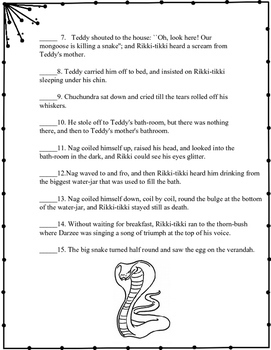 Rikki Tikki Tavi - Simple or Compound Sentences Practice Activity