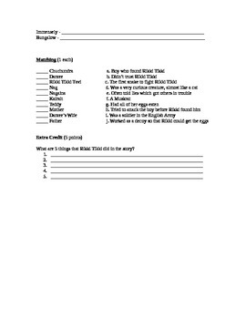Rikki Tikki Tavi Story and Assessment (Quiz)