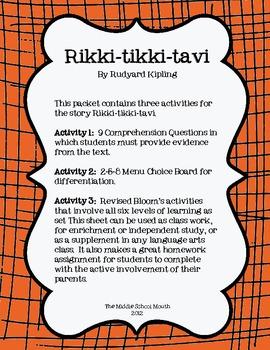 Rikki-tikki-tavi: 3 Activities